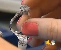 Diamond ring being held by fingers