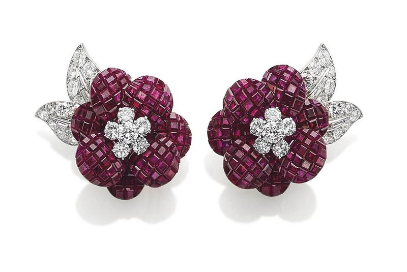 Mystery Set Ruby and Diamond Earrings