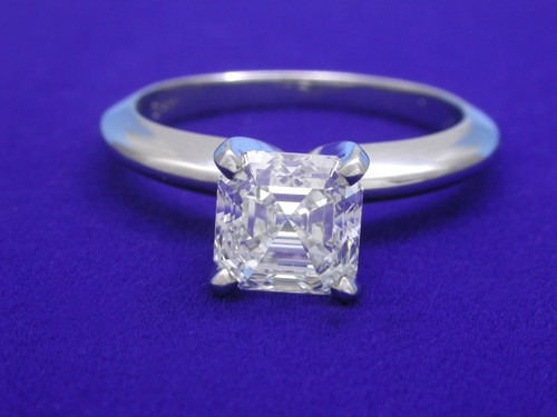 Asscher Cut Diamond Ring: 1.25 carat in Solitiare style mounting