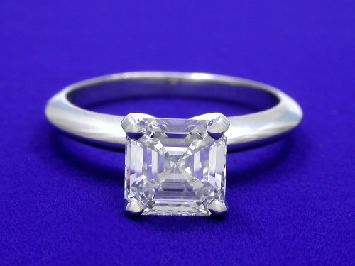 Asscher Cut Diamond Ring: 1.33 carat in Solitaire Style Mounting
