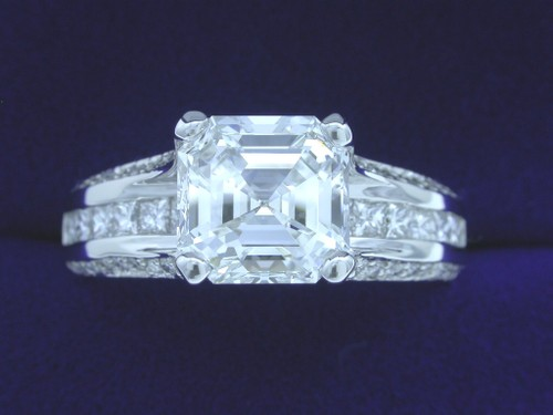 Asscher Cut Diamond Ring: 2.24 carat with 0.80 tcw Verragio designer mounting