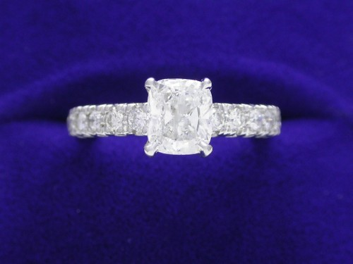 Cushion Cut Diamond Ring: 1.01 carat in 0.30 tcw Ingwer mounting
