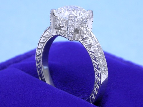Cushion Cut Diamond Ring: 1.54 carat ratio 1.03 with 0.20 tcw side stones Custom mounting