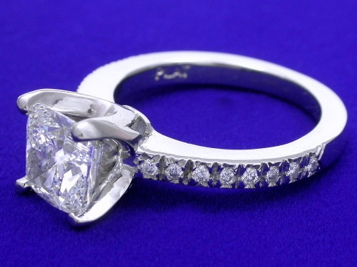 Cushion Cut Diamond Ring: 1.71 carat ratio 1.04 with 0.11 tcw side diamonds in Custom mounting
