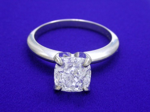 Cushion Cut Diamond Ring: 1.80 carat ratio 1.06 in Solitaire style mounting