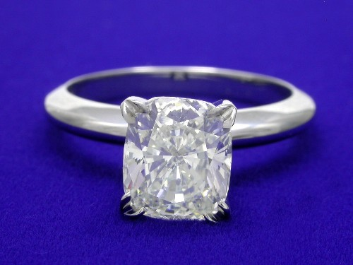 Cushion Cut Diamond Ring: 1.83 carat 1.16 ratio in a Solitaire style mounting