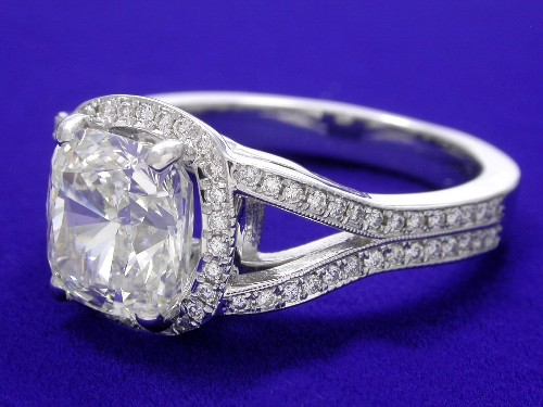 Cushion Cut Diamond Ring: 2.07 carat ratio 1.06 0.20 tcw pave in Custom mountign