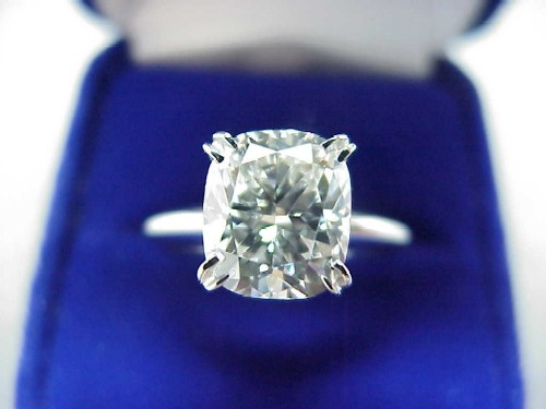 Cushion Cut Diamond Ring: 2.53 carat ratio 1.15 in Solitaire style mounting