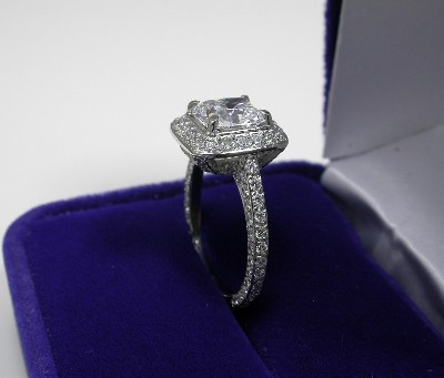 Cushion Cut Diamond Ring: 1.39 carat in designer pave mounting