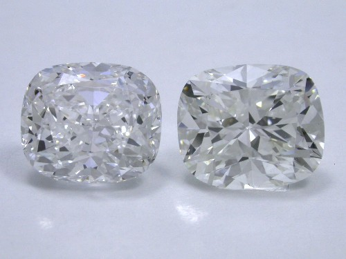 Cushion Brilliant Diamonds 1.77 and 1.87 carats 1.13 ratios