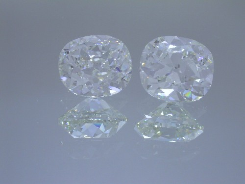 Old Mine Brilliant and Cushion Brilliant 4.01 carats each