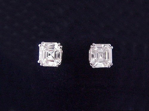 Asscher Cut Diamond Earrings with 3.53 tcw in Split Prong basket mountings