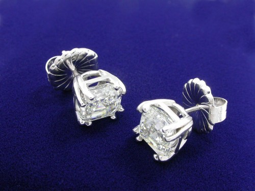 Asscher Cut Diamond Earrings with 4.22 tcw in Split Prong mountings
