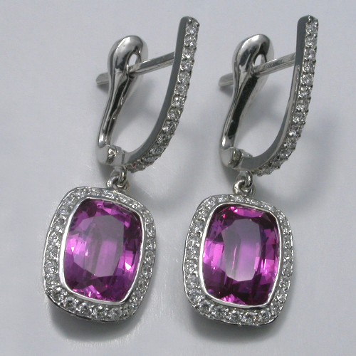 Cushion Cut Pink Sapphire earrings with 0.59 total carat weight pave Bez Ambar mounting