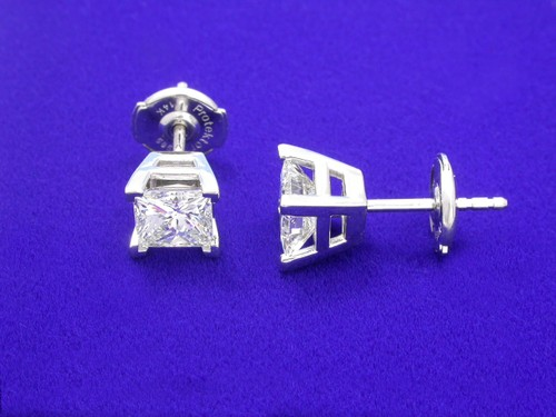 Princess Cut Diamond Earrings with 1.44 total carat weight
