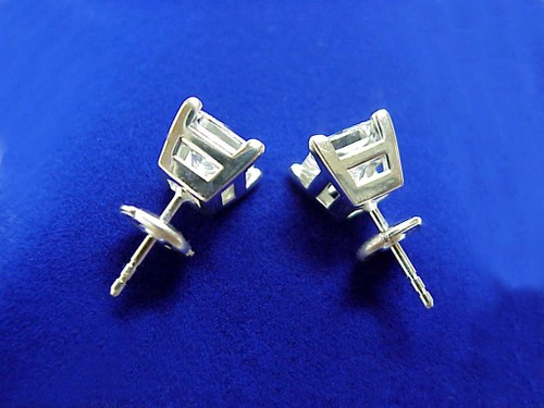 Princess Cut Diamond Earrings with 2.75 total carat weight