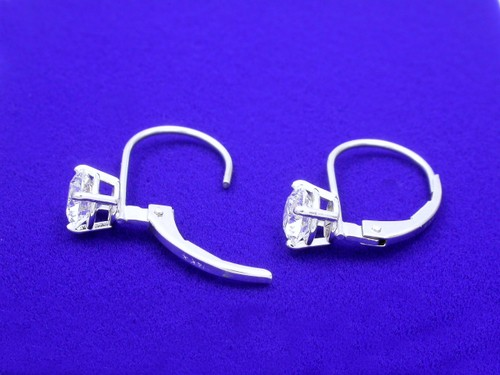 Round Brilliant Cut Diamond Earrings with 1.01 tcw in Lever Back mountings