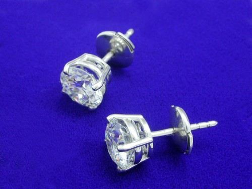 Round Brilliant Cut Diamond Earrings with 2.01 tcw in 4-prong basket mountings