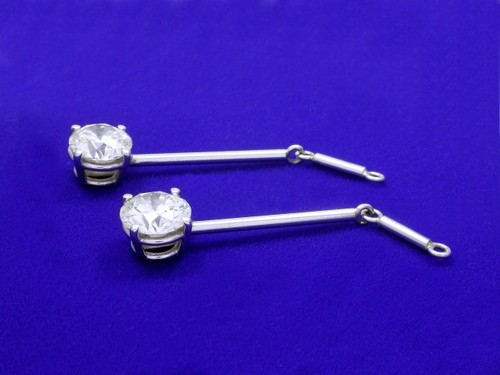 Round Brilliant Cut Diamond Earrings with 2.80 tcw in Dangle mountings