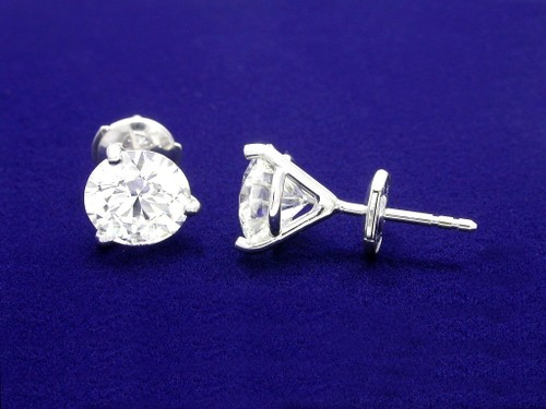 Round Brilliant Cut Diamond Earrings with 3.02 tcw in 3-prong Martini Style mountings