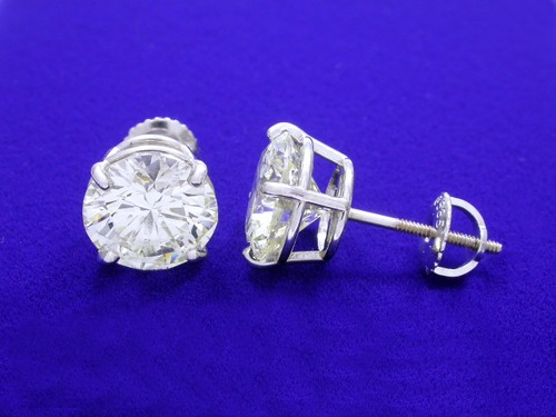 Round Brilliant Cut Diamond Earrings with 5.01 total carat weight
