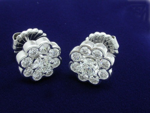 Round Brilliant Cut Diamond Earrings with 2.12 tcw Flower Design