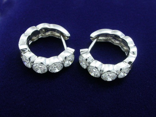 Round Brilliant Cut Diamond Earrings with 1.62 tcw Invisible Set
