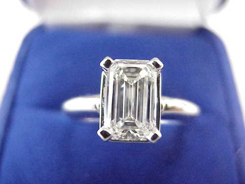 Emerald Cut Diamond Ring: 1.07 Carat with 1.61 Ratio In Basket Style Mounting