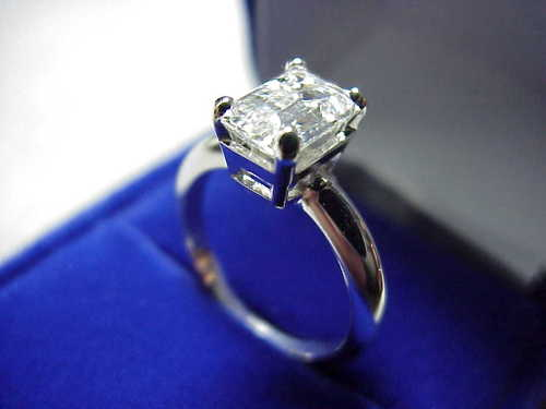Emerald Cut Diamond Ring: 1.56 carat in 4-prong basket mounting