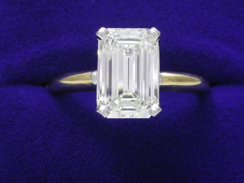 Emerald Cut Diamond Ring: 2.36 carat in yellow gold basket style mounting
