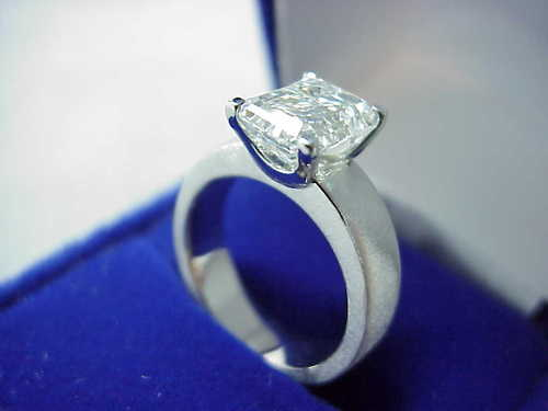 Emerald Cut Diamond Ring: 2.54 Carat 1.31 Ratio Brushed Finish Mounting