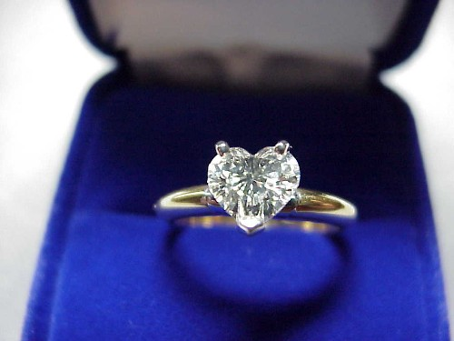 Heart Shaped Diamond Ring: 0.83 carat 3 prong Solitaire style mounting
