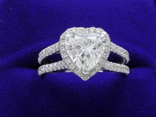 Heart Shaped Diamond Ring: 1.50 carat 1.01 ratio with 0.95 total carat weight