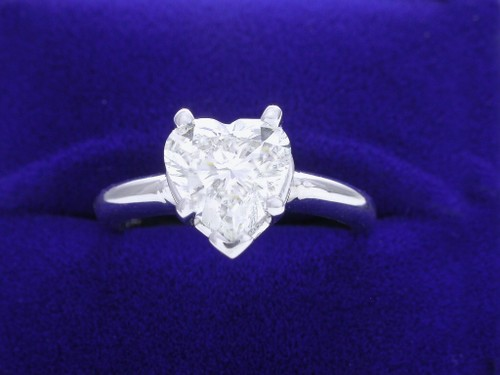 Heart Shaped Diamond Ring: 1.50 carat with five-prong mounting