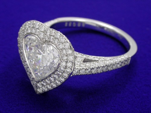 Heart Shaped Diamond Ring: 2.10 carat 0.94 ratio with 1.15 tcw pave Bez Ambar mounting