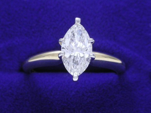 Marquise Cut Diamond Ring: 0.79 carat with 1.82 ratio in Solitaire Mounting