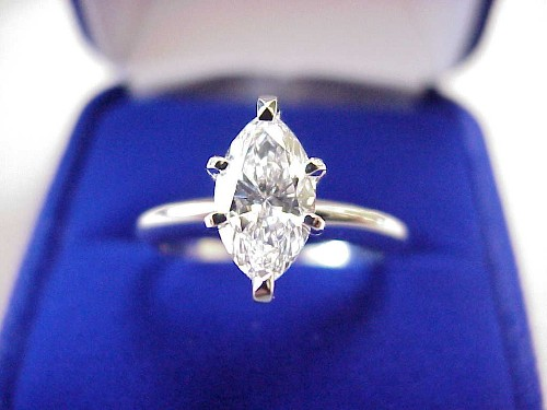 Marquise Cut Diamond Ring: 1.01 carat 1.80 ratio six prong Solitaire mounting