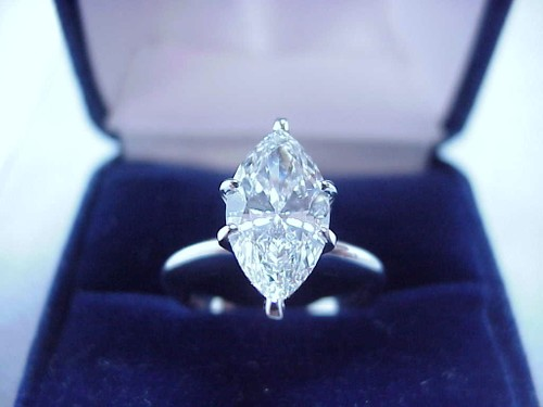 Marquise Cut Diamond Ring: 2.40 carat with 1.90 ratio in six-prong Solitaire Mounting