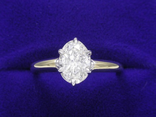 Oval Cut Diamond Ring: 1.10 carat with yellow gold six-prong mounting
