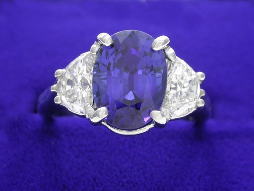 Oval Cut Blue Sapphire Ring: 3.05 Carats with 0.82 tcw Half Moond Diamonds