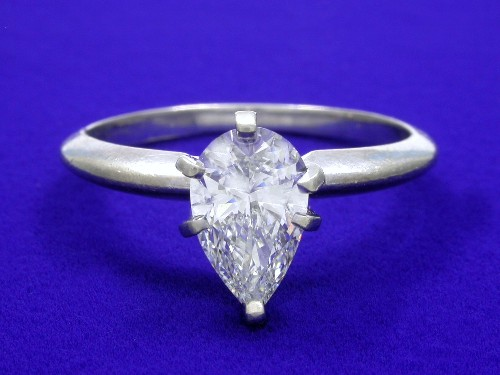 Pear Shape Diamond Ring: 1.26 carat 1.64 ratio in a Solitaire mounting