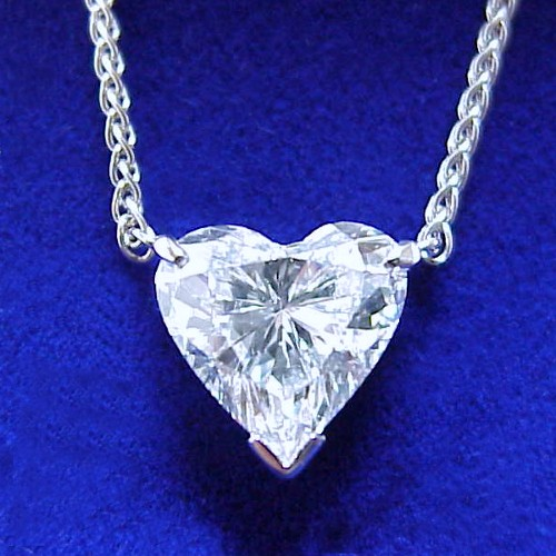 Heart Shaped Diamond Pendant: 2.10 carat with 0.94 ratio