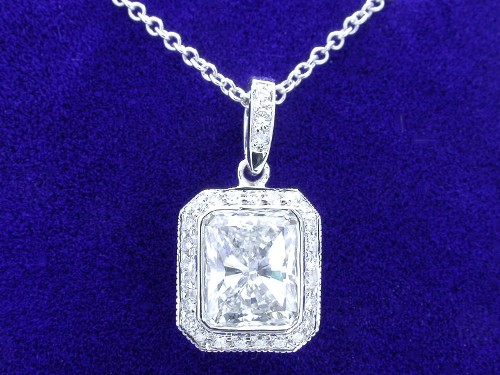 Radiant Cut Diamond Pendant 1.13 carat 1.20 ratio with 0.19 tcw pave Bez Ambar Mounting