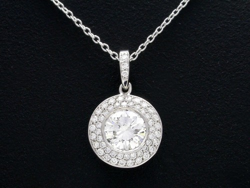 Round Brilliant Cut Diamond Pendant: 0.80 with 0.21 tcw pave Bez Ambar mounting