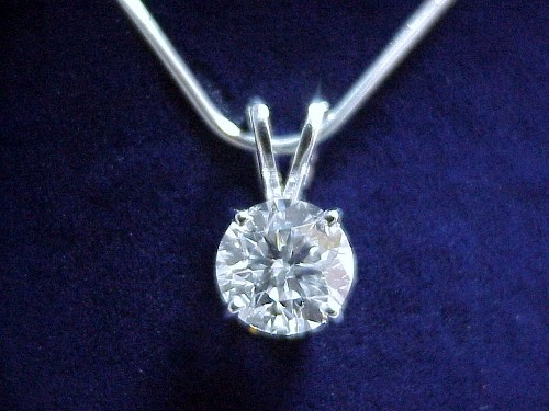 Round Brilliant Cut Diamond Pendant: 1.24 carat in white gold mounting