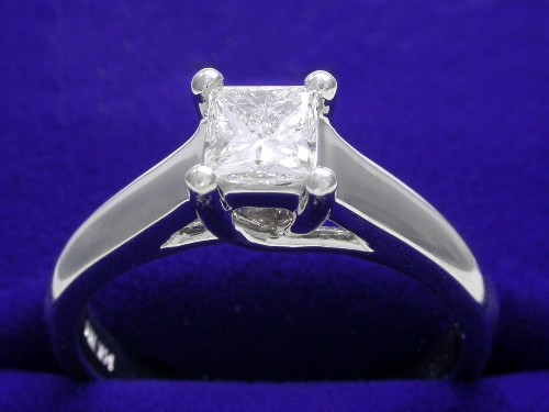 Princess Cut Diamond Ring: 0.50 carat in a Trellis style mounting
