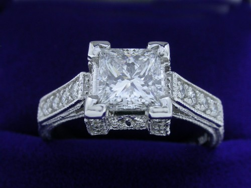 Princess Cut Diamond Ring: 1.02 carat in custom milgrain mounting