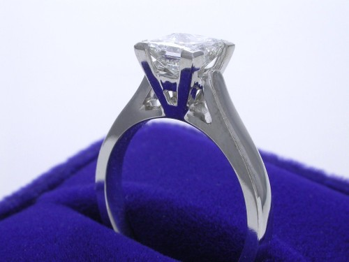 Princess Cut Diamond Ring: 1.12 carat in Cathedral style mounting