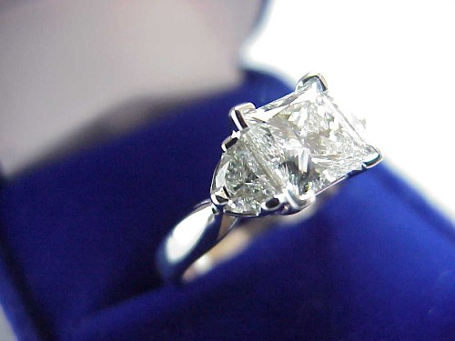 Princess Cut Diamond Ring: 1.15 carat 0.41 tcw half moon side stones