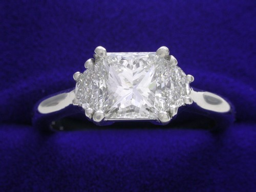 Princess Cut Diamond Ring: 1.23 carat with 0.37 tcw Half Moon Diamonds